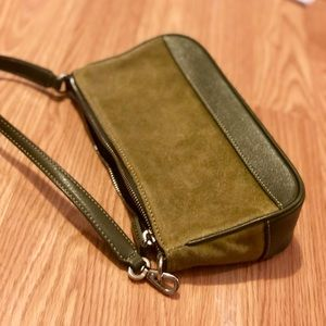 Rare suede and leather olive green Coach bag